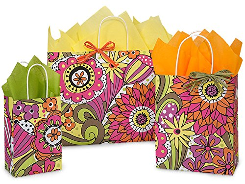 Pack Of 125, Assortment Floral Doodle Garden Recycled Shopping Bag 50 Rose (5-1/4'' x 3-1/2'' x 8-1/4''), 50 Cub (8-1/4'' x 4-3/4'' x 10-1/2''), 25 Vogue (16'' x 6'' x 12-1/2'') Made In USA by Generic