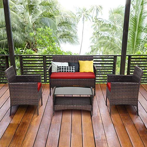 Tangkula 4 PCS Patio Wicker Furniture Set Outdoor Garden Lawn PoolsideRattan Wicker Sofa Furniture Cushioned Seat Conversation Set with Removable Cushions & Coffee Table Patio Sofa Furniture (red) -