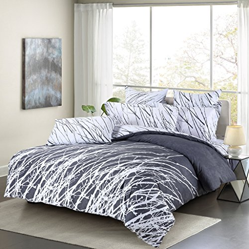 Swanson Beddings Tree Branches 3-Piece 100% Cotton Bedding Set: Duvet Cover  and Two Pillow Shams (Gray-White, Queen)