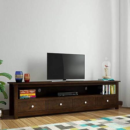 Daintree Sheesham Wood 1.96 Meter Dolly 4 Draw TV Unit Cabinet Entertainment Stand (Dark Walnut Finish)