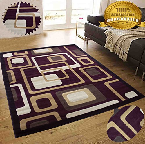 LA Rug Linens Colorful Chocolate Burgundy Modern Contemporary Abstract Designer Hand Tufted 8×10 Bedroom Living Room Indoor Outdoor Rug Throw .5 Inch Thin Pile Height (Royal 124 Chocolate Burgundy) Review
