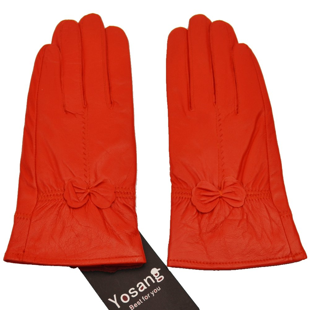 Yosang Women Luxury Winter Genuine Leather Lined Gloves w/ Bowknot Orange X-Large