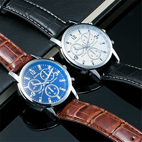 Analog Quartz Watch For Men,Business Wrist Watch Leather Band,Waterproof, Round Dial and Arabic Numerals