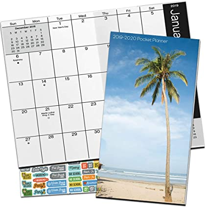 Beach Calendar 2020 Amazon.: Beaches Monthly Pocket Planner 2019 2020 with