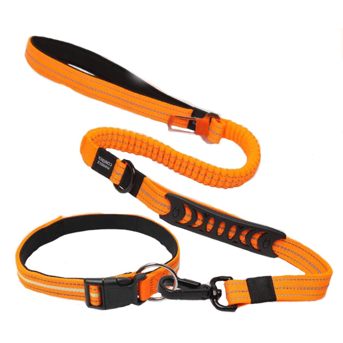 orange A orange A Xingganglengyin Pet leash, dog collar, medium dog collar, rope collar set, reflective collar, black and orange, with collar and without collar, 4 optional (color   orange, Style   A)