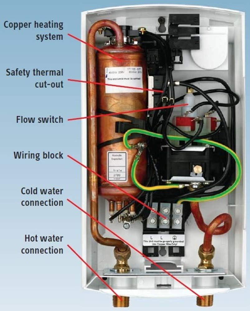 entrega de temperatura precisa Calentador de agua instant/áneo compacto 220240 V color blanco m/áxima eficiencia energ/ética Stiebel Eltron DCE-X 10//12 Premium apto para duchas 238159