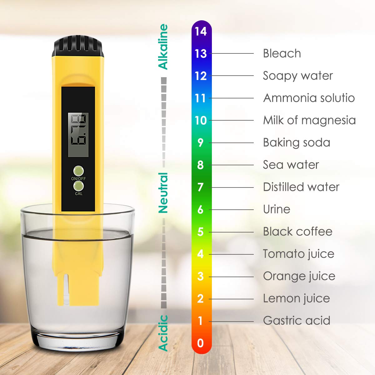 Amazon.com: Digital PH Meter, VANTAKOOL PH Meter 0.01 PH High Accuracy Water Quality Tester with 0-14 PH Measurement Range for Household Drinking, ...