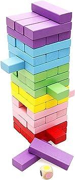 Lewo 48 Piezas Torre de Madera Block Colores Juegos de Construcción: Amazon.es: Juguetes y juegos
