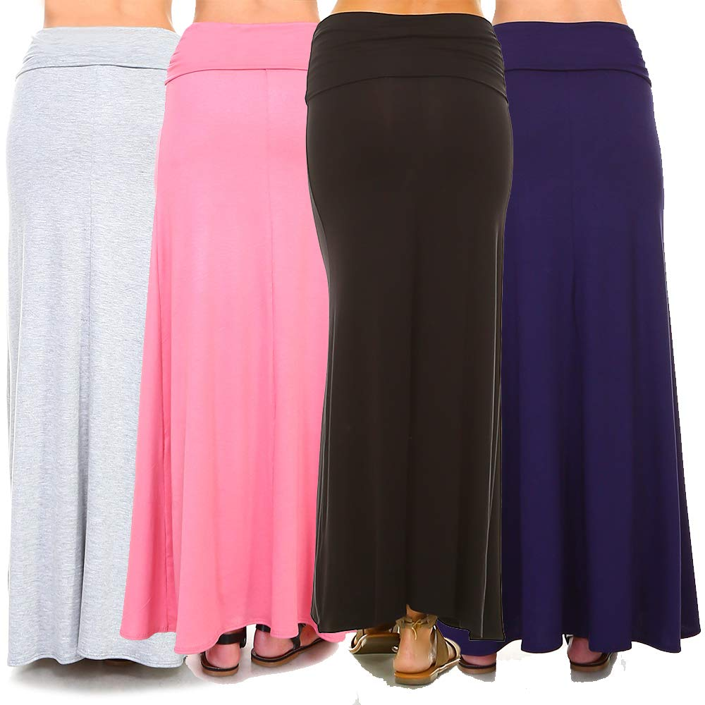 12f2149c73b8 Isaac Liev Women's 4-Pack Trendy Rayon Span Fold Over Maxi Skirt at Amazon  Women's Clothing store: