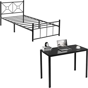 Alecono Metal Bed Frame, Reinforced Metal Platform Bed Frame with headboard, Simple Writing Desk, Black