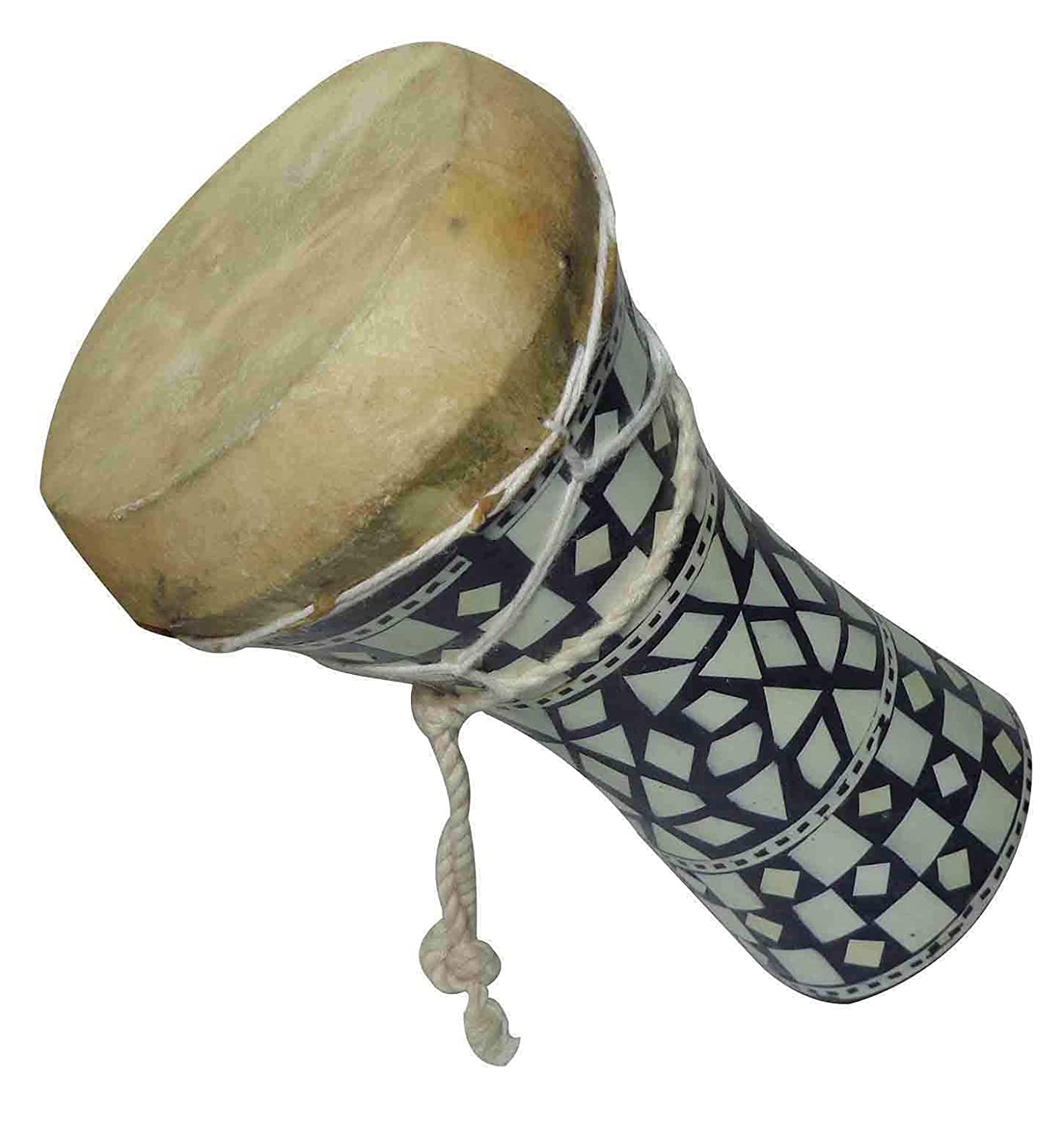 "1Pcs Small Egyptian Wooden Tabla Drum Doumbek Goat Skin Mosaic 6"" Handmade (425)"