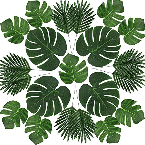 fixinus 36 Pack Artificial Palm Leaves with Green Stems, 3 Kinds Tropical Monstera Plant Faux Leaves for Hawaiian Luau Party Jungle Beach Supplies Safari Leave Table Runner]()