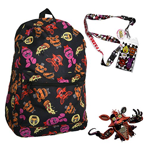 Book Character Costume Ideas For Girls (FNAF Five Nights at Freddy's 17 Large Backpack with Lanyard and Keychain Charm)