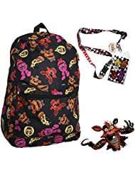 FNAF Five Nights at Freddys 17 Large Backpack with Lanyard and Keychain Charm