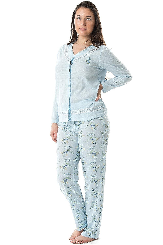 Casual Nights Women's V-Neck Long Sleeve Print Pajama Set V Neck Pajama Set