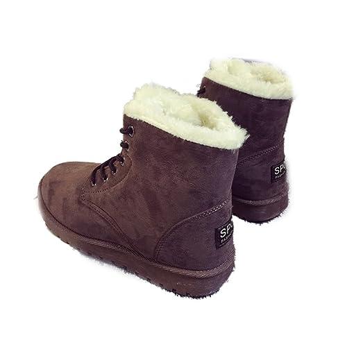 Xianshu Mujeres Invierno Algodón Botas de Nieve Cordones Calentar Botas (Marron-39 EU)