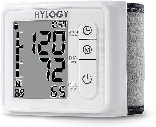 HYLOGY Tensiómetro de Muñeca, Totalmente Automático Presión Arterial y Detección de Pulso Arrítmico, Memoria (2 * 120): Amazon.es: Salud y cuidado personal