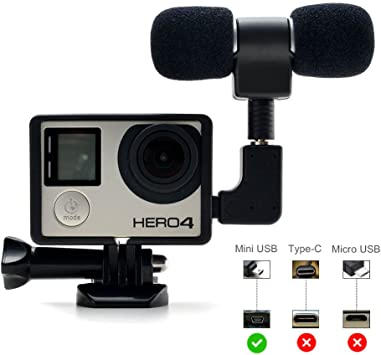 2 Pack 3.5mm Mini USB Cable Adaptador De Micrófono para Cámara Gopro Hero 5 4