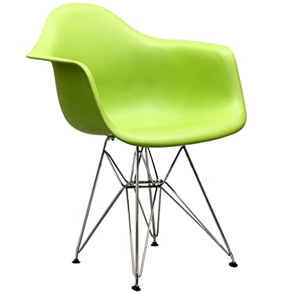 Modway Paris Mid Century Modern Molded Plastic Armchair In Green