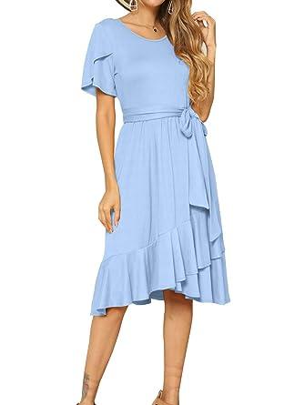 23f14d62d9 levaca Women Casual Short Sleeve Loose Flowy Tunic Midi Dress Sky Blue S