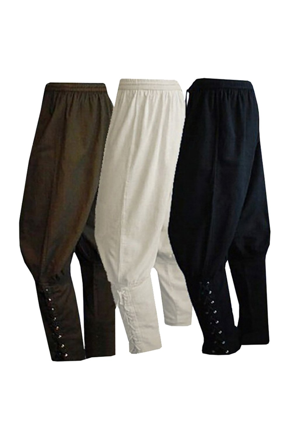 COSMOVIE Men's Viking Pants Medieval Renaissance Gothic Trousers Summer Ankled Banded Pants Pirate Costumes Pants