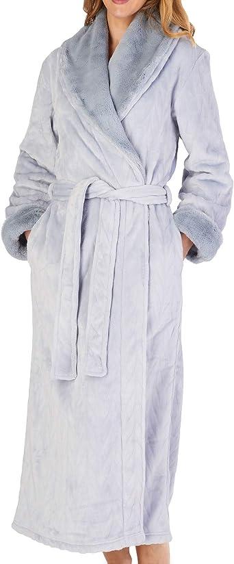 """Ladies Slenderella Luxury Soft 52/"""" Long Faux Fur Shawl Collar Wrap Dressing Gown"""