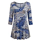 Fashion Womens Casual Floral Print Shirts 3/4 Sleeves O-Neck Tunic Blouse Tops Beige