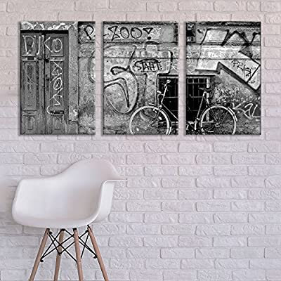 3 Panel Canvas Wall Art - Triptych Street Graffiti Series - Black and White Bike - Giclee Print Gallery Wrap Modern Home Art Ready to Hang - 16