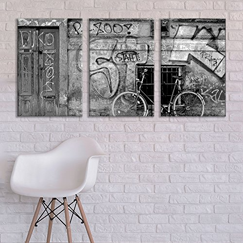 wall26 - 3 Panel Canvas Wall Art - Triptych Street Graffiti Series - Black and White Bike - Giclee Print Gallery Wrap Modern Home Decor Ready to Hang - 24