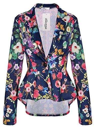Meaneor Women's Casual Slim Irregular Pleated Hem Shawl Collar One Button Coat Jacket Suit Blazer Floral Print XXl