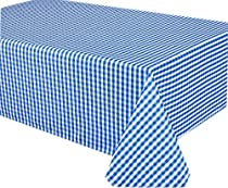 58 x 126 Oblong Gingham Check Print Indoor/Outdoor Fabric Tablecloth - Blue