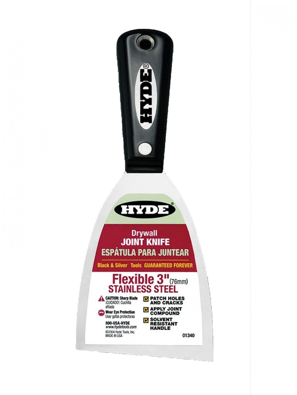Hyde Tools 01340 24 Pack 3-Inch Stainless Steel Flex Joint Knife, Black and Silver
