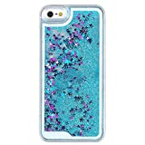 Mingus® Glitter Stars Quicksand Case Cover for Apple iPhone 5 / 5S, Flowing Sparkles Shinny Glitter Bling Stars Powder Anti Scratch Transparent Clear Protective Hard Case Cover Shell for Apple iPhone 5 / 5S - (Sky-blue)