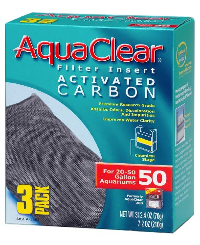 Aquaclear Activated Carbon Insert, 50-Gallon Aquariums, 3-Pack (Best Aquarium Filter For 50 Gallon Tank)