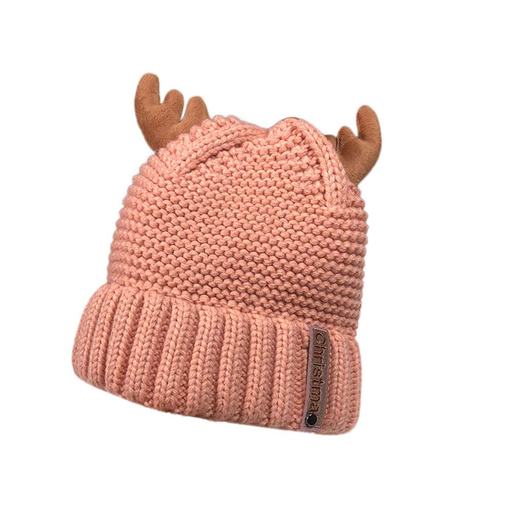Christmas Hat and Scarf Set,Christmas Hat Black,Christmas Hat Novelty,Newborn Christmas Hat Boy,Women Autumn Winter Cashmere Antler Hat Knitting Wool Warm Christmas Hat,Pink,M