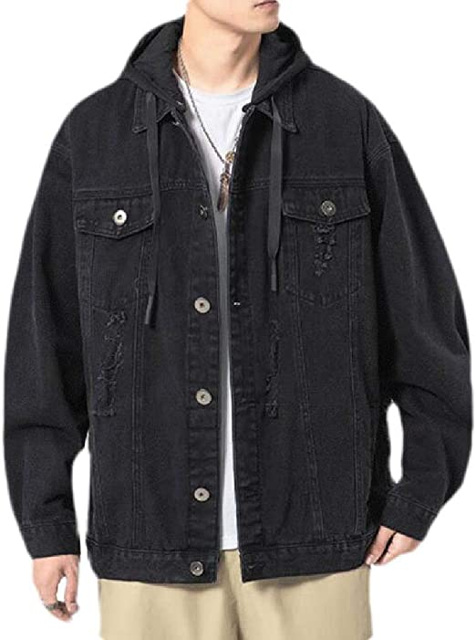 Yeirui Men's Distressed Loose Removable Hood Big & Tall Button Down Denim Jeans Trucker Jacket
