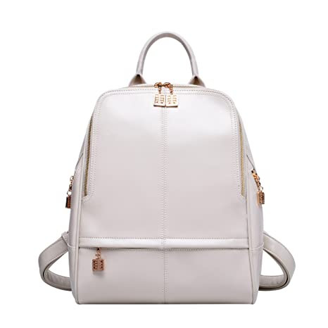 f9951d81f4 BOYATU Genuine Leather Backpack Purse for Women Fashion Travel Rucksack  Ladies Daypack (Off White)  Amazon.ca  Luggage   Bags