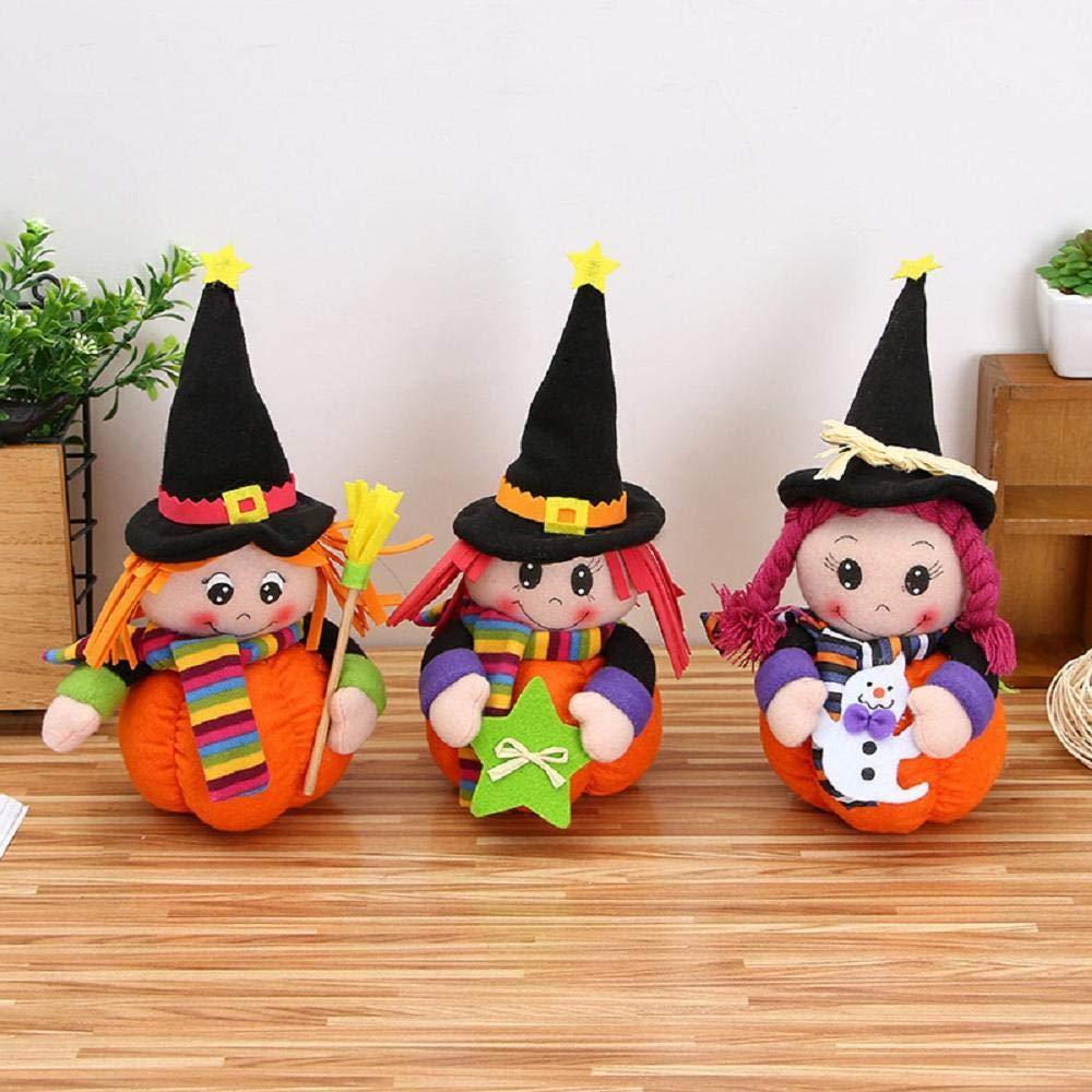 Rosa Xuxuou 1Pcs Halloween Witch Doll Peluche Mu/ñeco de Halloween Mu/ñeco de Peluche Ni/ños Calabaza Peluche Juguete