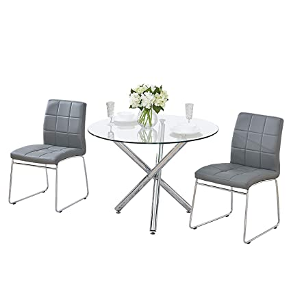 detailed look d45d7 ccf6d GIZZA Small Round Clear Glass Dining Table and 2/4 Sled ...