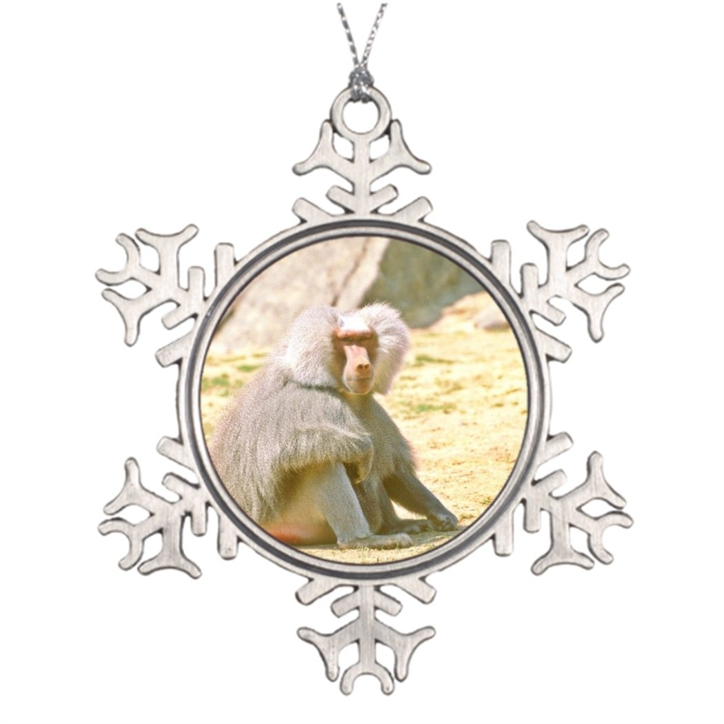 Tree Branch Decoration Hamadryas Baboon-adult male sitting Thanksgiving Snowflake Ornaments Baboon