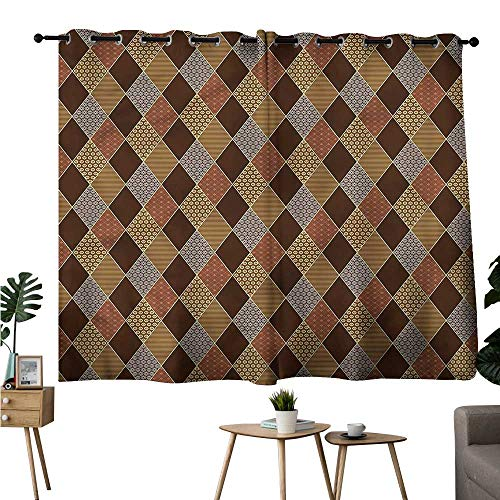 - Gabriesl Modes Darkening Curtains Grommet Curtain Decoration Brown,Classic Lozenge Pattern Two Panels W108 x L72