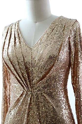 Elegant MACloth Bride Evening of Dress V Long Sleeves Gown Sequin Neck Grau Mother rRwrUxq