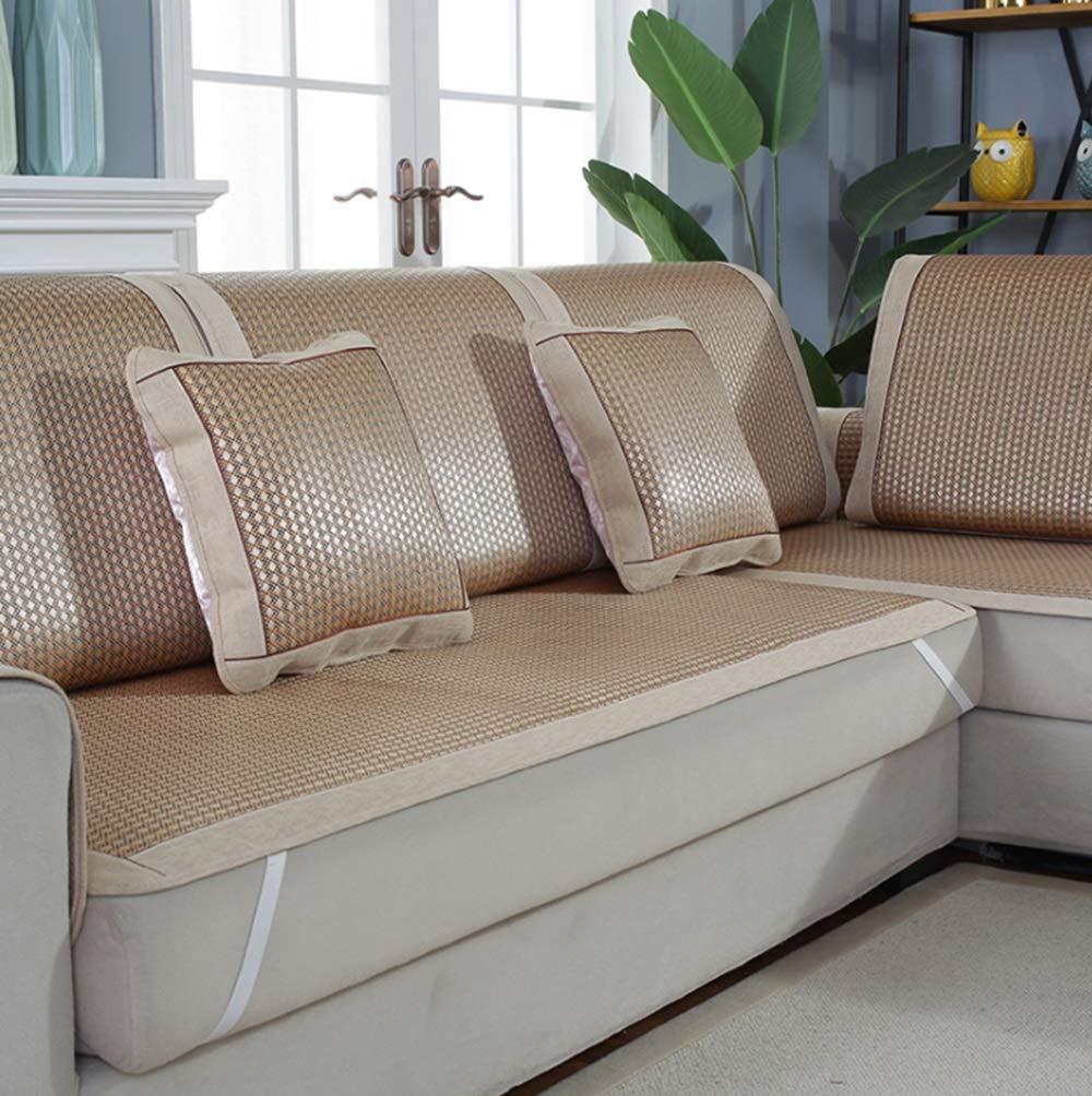 OWNFSKNL ソファのクッションカバー夏の滑り止めアイスシルクマットソファタオル用ホームリビングルーム (Color : 金色, サイズ : 70*150CM) 70*150CM 金色 B07PW897VB