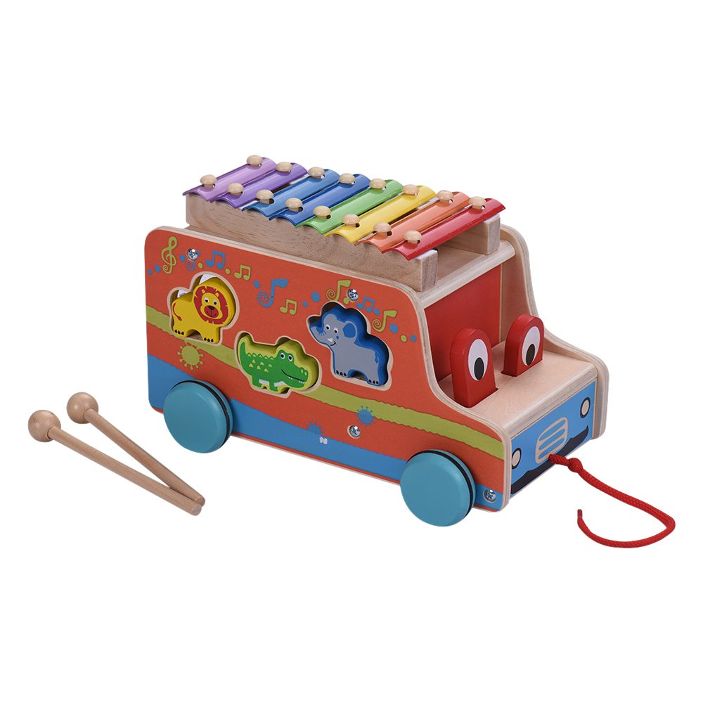 Xylophone Glockenspiel Muslady Multifunctional Wooden Pull Bus with 8 Notes 6 Cute Animal-shaped Blocks Early Educational Toy Percussion Instrument Musical Gift for Kids Children