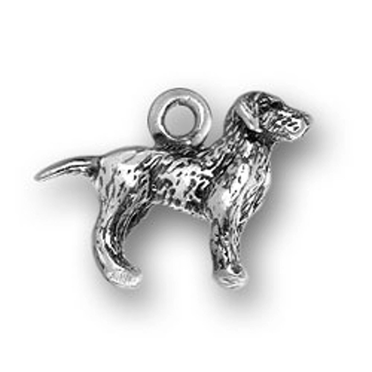 Sterling Silver Girls .8mm Box Chain 3D Small Labrador Retreiver Dog Pendant Necklace
