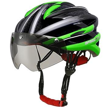 Casco Base Camp para bicicleta con visera extraíble y gafas protectoras, color verde