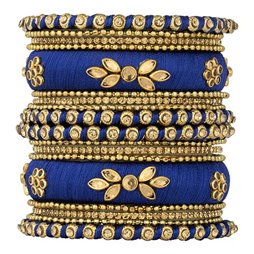Aheli Royal Design Silk Thread Bangle Set Matching Chuda Indian Traditional Wedding Fashion Jewelry for Women (Blue) (Best Selling Perfumes For Ladies In India)