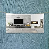 AmaPark absorbent towel Contemporary lounge with fireplace Soft Cotton Durable L39.4 x W9.8 INCH