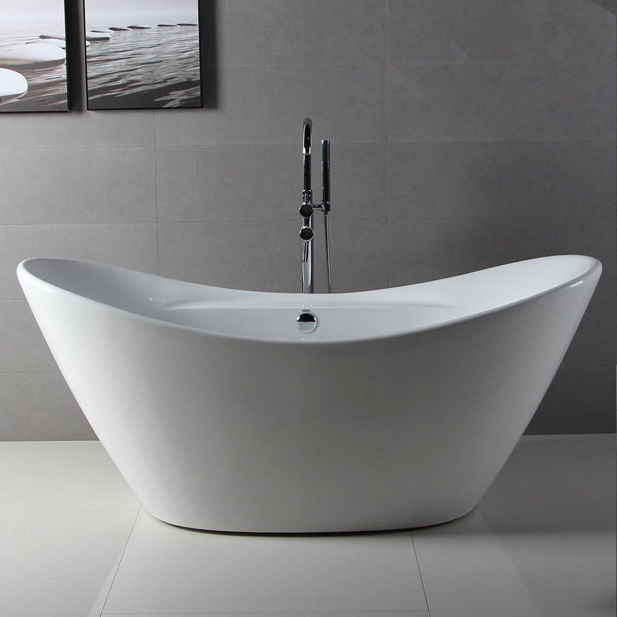 FerdY Bathroom Freestanding Acrylic Soaking Bathtub White Color (67 ...
