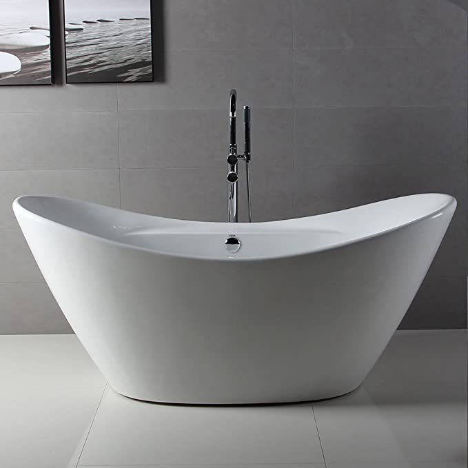 FerdY Bathroom Freestanding Acrylic Soaking Bathtub White Color (67 ...